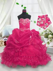 Hot Pink Lace Up Sweetheart Beading and Ruffled Layers and Pick Ups Pageant Dress for Teens Organza Sleeveless