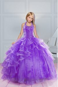 Stunning Halter Top Sleeveless Kids Formal Wear Floor Length Beading and Ruffles Lavender Organza
