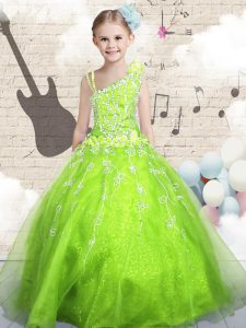 Sleeveless Lace Up Floor Length Beading and Appliques and Hand Made Flower Toddler Flower Girl Dress