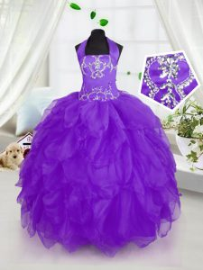 Halter Top Purple Lace Up Custom Made Pageant Dress Appliques and Ruffles Sleeveless Floor Length