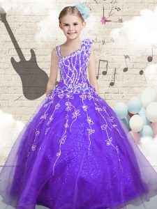 Dazzling Lilac Organza Lace Up Asymmetric Sleeveless Floor Length Toddler Flower Girl Dress Beading and Appliques and Hand Made Flower