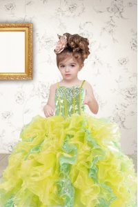 Sequins Spaghetti Straps Sleeveless Lace Up Kids Formal Wear Multi-color Organza