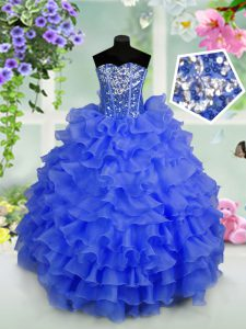 Stunning Organza Sweetheart Sleeveless Lace Up Ruffled Layers and Sequins Toddler Flower Girl Dress in Royal Blue