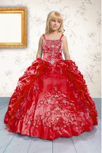Red Spaghetti Straps Neckline Beading and Appliques and Pick Ups Pageant Gowns For Girls Sleeveless Lace Up