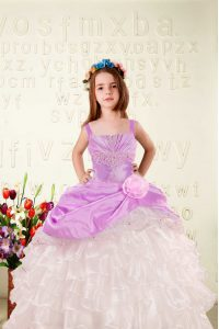 Elegant Fuchsia Lace Up Little Girls Pageant Dress Wholesale Beading and Ruffled Layers and Hand Made Flower Sleeveless Floor Length