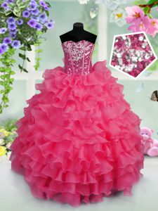 Sequins Ruffled Floor Length Hot Pink Pageant Dress Sweetheart Sleeveless Lace Up