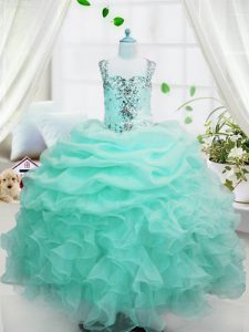 Attractive Baby Blue Straps Lace Up Beading and Ruffles and Pick Ups Kids Formal Wear Sleeveless
