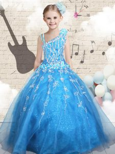 Custom Design Baby Blue Sleeveless Floor Length Appliques Lace Up Pageant Dress for Teens
