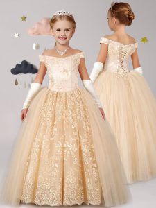 Excellent Off the Shoulder Cap Sleeves Tulle Floor Length Lace Up Pageant Dress for Girls in Champagne with Lace