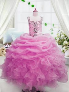 Pink Sleeveless Beading and Ruffles and Pick Ups Floor Length Pageant Dress Toddler