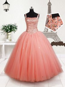 Adorable Straps Sleeveless Tulle Floor Length Lace Up Little Girl Pageant Gowns in Peach with Beading