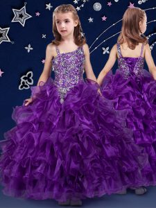 Super Purple Child Pageant Dress Quinceanera and Wedding Party with Beading and Ruffled Layers Asymmetric Sleeveless Lace Up
