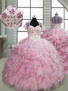Sleeveless Beading and Ruffles Lace Up Winning Pageant Gowns with Baby Pink Brush Train