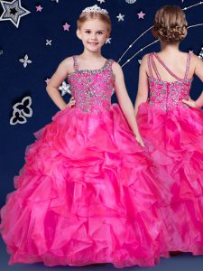 Best Organza Asymmetric Sleeveless Zipper Beading and Ruffles Kids Pageant Dress in Hot Pink