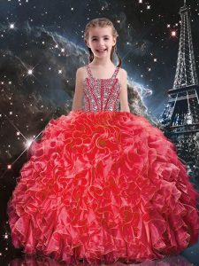 Cheap Straps Sleeveless Lace Up Little Girl Pageant Gowns Coral Red Organza