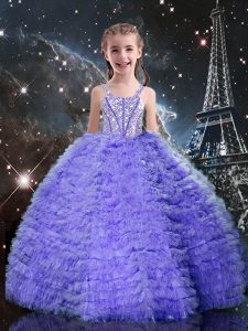 Floor Length Lavender Pageant Dress for Girls Tulle Short Sleeves Beading and Ruffled Layers