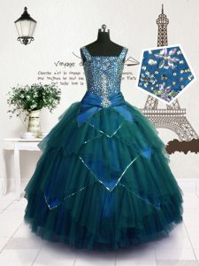 Luxurious Teal Straps Lace Up Beading and Belt Pageant Dresses Sleeveless