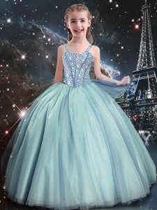 Excellent Teal Tulle Lace Up Straps Sleeveless Floor Length Glitz Pageant Dress Beading