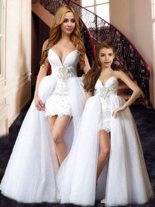 Beading and Lace High School Pageant Dress White Lace Up Sleeveless Floor Length