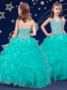 Adorable Halter Top Floor Length Zipper Little Girl Pageant Dress Turquoise for Quinceanera and Wedding Party with Beading and Ruffles