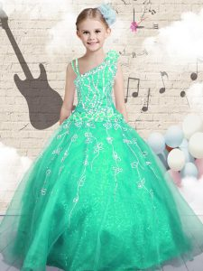 Inexpensive Asymmetric Sleeveless Lace Up Winning Pageant Gowns Apple Green Tulle