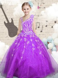 Organza Sleeveless Floor Length High School Pageant Dress and Beading and Appliques and Hand Made Flower