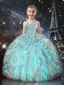 Aqua Blue Sleeveless Beading and Ruffles Floor Length Glitz Pageant Dress