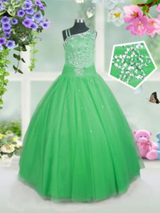 Sleeveless Tulle Floor Length Side Zipper Little Girl Pageant Gowns in Green with Beading