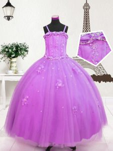 Sleeveless Floor Length Beading and Appliques Zipper Little Girl Pageant Gowns with Lilac