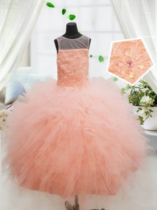 Peach Ball Gowns Scoop Sleeveless Tulle Floor Length Zipper Beading and Lace and Ruffles Little Girls Pageant Gowns