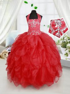 Halter Top Red Sleeveless Organza Lace Up Toddler Flower Girl Dress for Quinceanera and Wedding Party