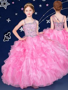 Discount Rose Pink Sleeveless Floor Length Beading and Ruffles Zipper Little Girls Pageant Dress