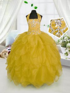 Charming Gold Custom Made Pageant Dress Party and Wedding Party with Beading and Ruffles Halter Top Sleeveless Lace Up