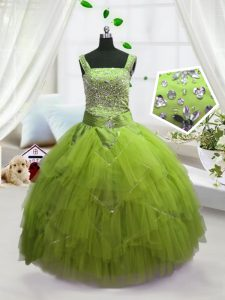 Excellent Yellow Green Lace Up Straps Beading and Ruffles Little Girls Pageant Dress Tulle Sleeveless