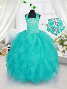 Luxurious Organza Halter Top Sleeveless Lace Up Beading Little Girls Pageant Gowns in Aqua Blue