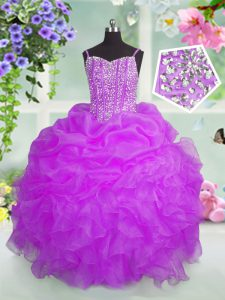 Fuchsia Ball Gowns Organza Spaghetti Straps Sleeveless Beading and Ruffles and Pick Ups Floor Length Lace Up Pageant Dresses