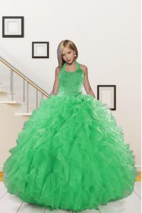 Green Ball Gowns Halter Top Sleeveless Organza Floor Length Lace Up Beading and Ruffles Pageant Dress for Teens