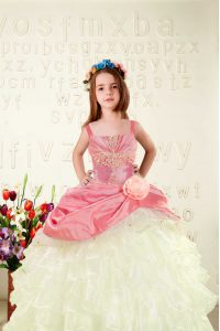 Great Pink Sleeveless Beading and Ruffled Layers and Hand Made Flower Floor Length Girls Pageant Dresses