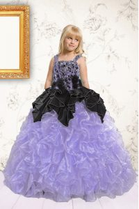 Adorable Pick Ups Ball Gowns Flower Girl Dress Lavender Straps Organza Sleeveless Floor Length Lace Up