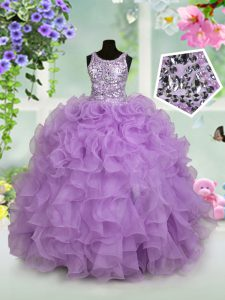 Attractive Lavender Scoop Zipper Ruffles and Sequins High School Pageant Dress Sleeveless