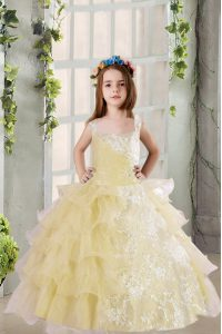 Customized Organza Square Sleeveless Lace Up Lace and Ruffled Layers Kids Pageant Dress in Light Yellow