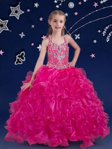 Hot Selling Halter Top Sleeveless Beading and Ruffles Lace Up Pageant Gowns