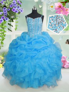Graceful Organza Sleeveless Floor Length Winning Pageant Gowns and Beading and Ruffles and Pick Ups