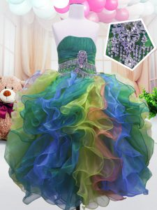 Strapless Sleeveless Zipper Glitz Pageant Dress Multi-color Organza