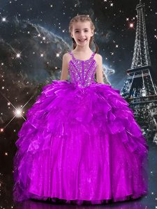 Floor Length Lace Up Pageant Dress for Teens Fuchsia for Party and Wedding Party with Beading and Ruffles