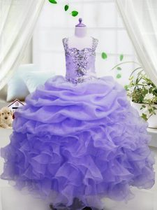 Lavender Zipper Square Beading and Ruffles and Pick Ups Flower Girl Dress Organza Sleeveless
