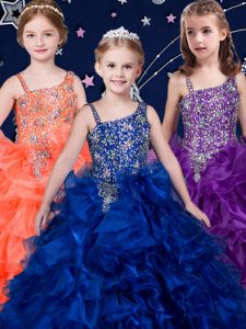 Excellent Royal Blue and Purple and Orange Asymmetric Lace Up Beading and Ruffles Kids Formal Wear Sleeveless