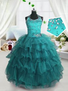 Excellent Turquoise Ball Gowns Spaghetti Straps Sleeveless Organza Floor Length Lace Up Beading and Ruffled Layers Evening Gowns