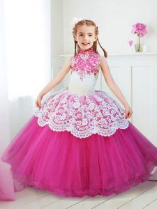 Halter Top Floor Length Hot Pink Pageant Dress for Womens Tulle Sleeveless Beading and Lace
