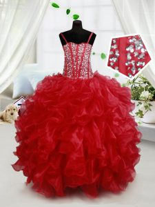 Sleeveless Floor Length Beading and Ruffles Lace Up Glitz Pageant Dress with Red